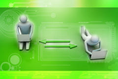 Two 3d people holding laptops are connected with arrows Stock Image