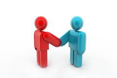 Two 3d people are shaking hands. In white background Royalty Free Stock Photography