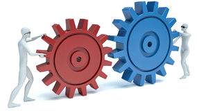 Two 3d person connected gears. team Stock Images
