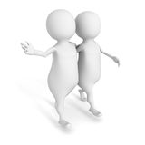 Two 3d person walk on white background vector illustration