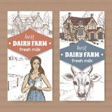 Two dairy color farm shop labels with farmhouse, milkmaid and cow on white. Royalty Free Stock Photo