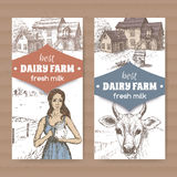 Two dairy farm labels with farmhouse, milkmaid, cow on white Stock Photo