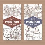 Two dairy farm shop labels with farmhouse, milk can, mug and cheese plate. Placed on cardboard texture. Includes hand drawn elements Royalty Free Stock Photos