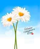 Two daisies with heart shaped middles. Royalty Free Stock Photo