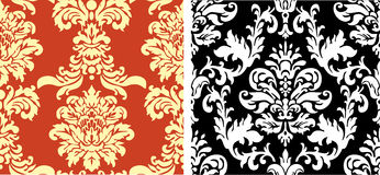 Two Damask Patterns. Set of two damask fabric or wallpaper patterns Stock Illustration