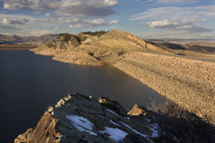 Two dams of mountain reservoir in Colorado Stock Image