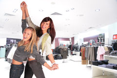 Two dance girl in shop. Two dance girl in the shop Royalty Free Stock Photo