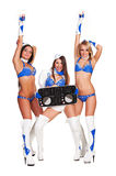 Two dancers and woman dj Royalty Free Stock Image