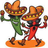 Two dancing cartoon mexican peppers Royalty Free Stock Photography