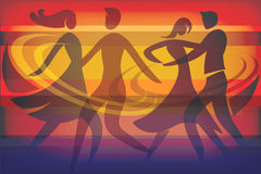 Two Dancing couples. Colorful background with silhouettes of dancing couples. Vector available Stock Photos
