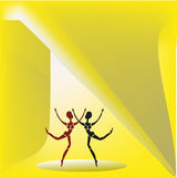 Two dancing figures. Two fragile female figures with elongated heads dancing on a yellow background Royalty Free Stock Images