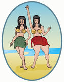 Two dancing girls. Two dancing girl on beach, with sea background Royalty Free Stock Image