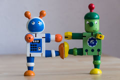 Two dancing robots Royalty Free Stock Images