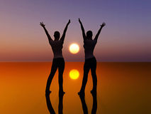 Two dancing women. Digital composition of two women looking at the sunrise dancing full of joy. symbol of success and peace Stock Photos