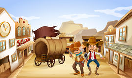 Two dangerous armed men near the saloon bar. Illustration of the two dangerous armed men near the saloon bar Royalty Free Stock Photo