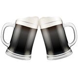 Two dark beer mugs clink. Vector Illustration Royalty Free Stock Image