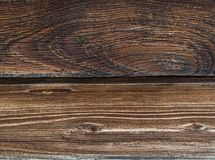 Two dark brown weathered effect of a scorched wood parallel board base background. Two dark brown weathered effect of a scorched wood parallel board dark base Stock Image