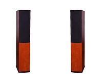 Two dark cherry front loudspeakers Stock Photography