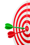 Two dart hitting a target, Royalty Free Stock Photos