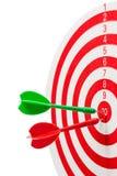 Two dart hitting a target, Royalty Free Stock Photos