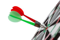 Two Darts In Center Of Target Stock Image