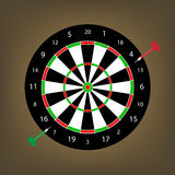 Two darts at the dart board Stock Photography
