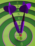 Two darts hitting the bullseye aim. concept of success 3d illustration.  Royalty Free Stock Images