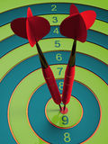 Two darts hitting the bullseye aim. concept of success 3d illustration Stock Images