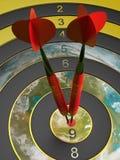 Two darts hitting the bullseye aim. concept of success 3d illustration Royalty Free Stock Photos