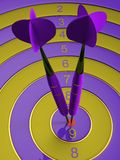 Two darts hitting the bullseye aim. concept of success 3d illustration Stock Photo