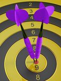 Two darts hitting the bullseye aim. concept of success 3d illustration Royalty Free Stock Image