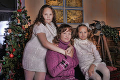 Two daughters with mother Stock Photography