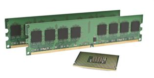 Two ddr2 memory modules and a cpu Royalty Free Stock Image