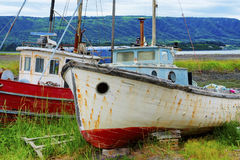 Two decaying Abandoned Boats Royalty Free Stock Photo