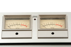 Two decibel meter. Of sound equipment royalty free stock photos