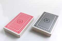Two deck of cards. Isolated on white background at lower right of frame Royalty Free Stock Photography