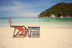 Two Deck chair on the beach Stock Images