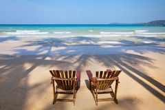 Two deck chairs. Beach vacations, two deck chairs Royalty Free Stock Image