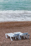 Two deck chairs. Two deckchairs on the beach Stock Images