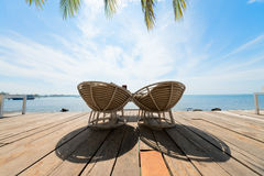 Two deck chairs outdoor. Stock Image