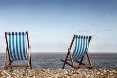 Two deck chairs Royalty Free Stock Images