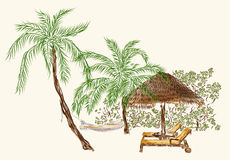 Two deck chairs under the palms with hammock Royalty Free Stock Images