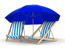 Two deckchair and parasol on white background Royalty Free Stock Photos