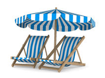 Two deckchair and parasol on white background Royalty Free Stock Image