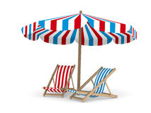Two deckchair and parasol on white background. 3D image stock illustration