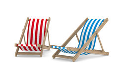 Two deckchair on white background Stock Image