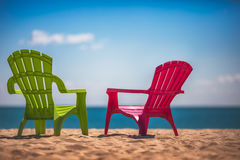 Two deckchairs on the beach Royalty Free Stock Photography