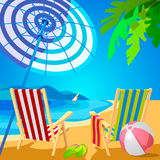 Two deckchairs on a tropical beach. Slippers and ball. Poster in the Art Deco Royalty Free Stock Photography