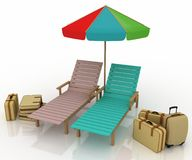 Two deckchairs under an umbrella Royalty Free Stock Photos