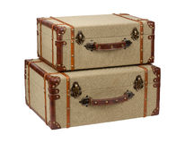Two Deco Wood Burlap Suitcases Stock Photo